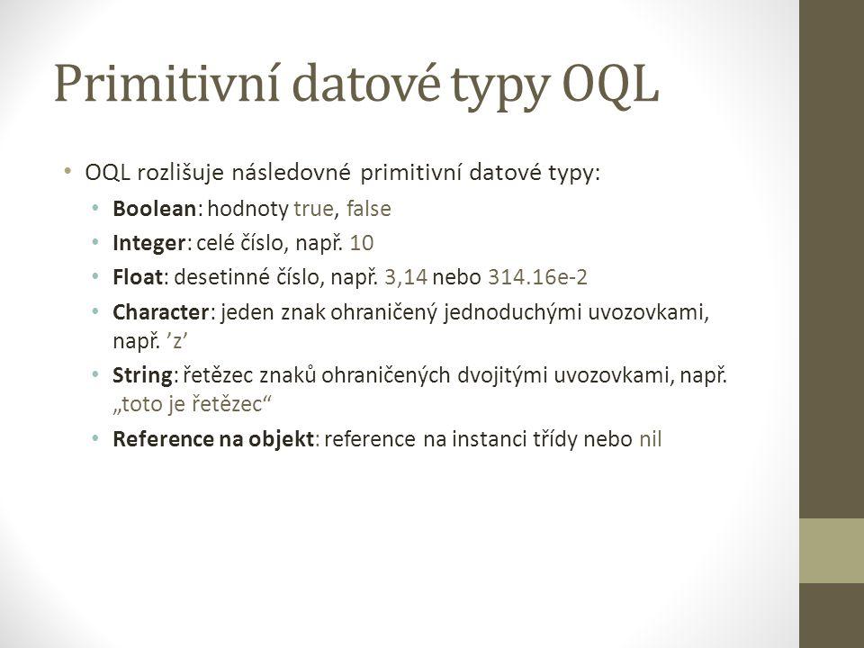 Primitivní datové typy OQL