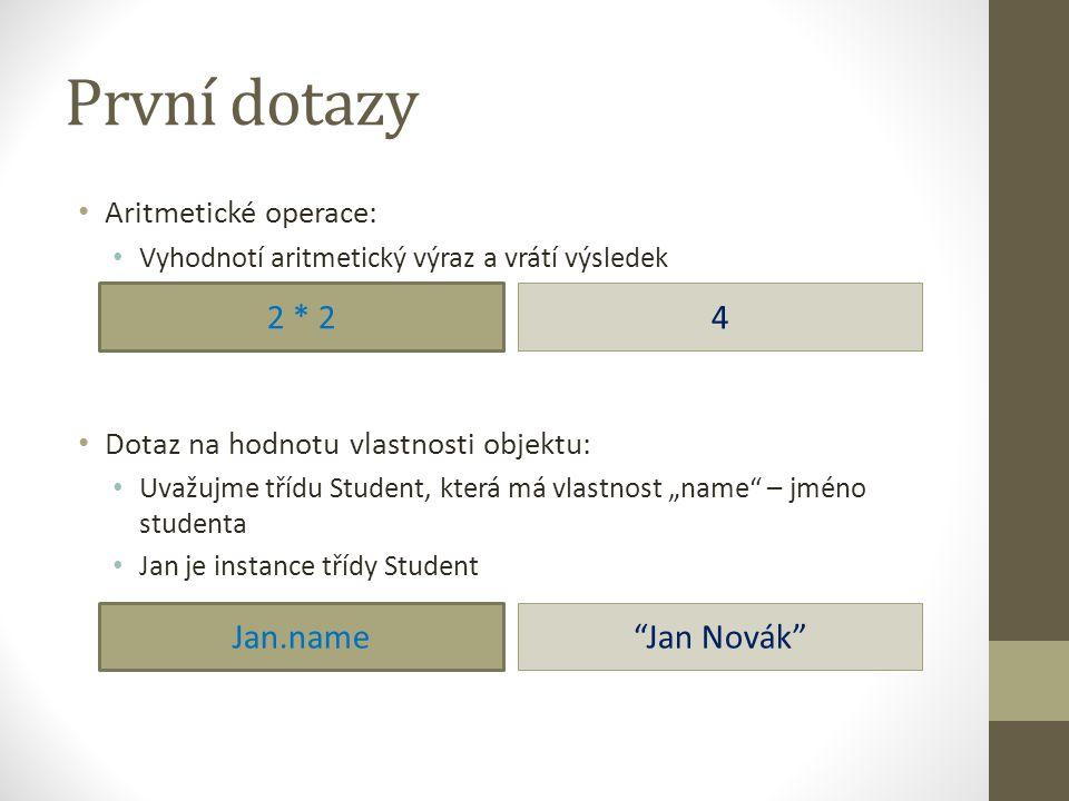 První dotazy 2 * 2 4 Jan.name Jan Novák Aritmetické operace: