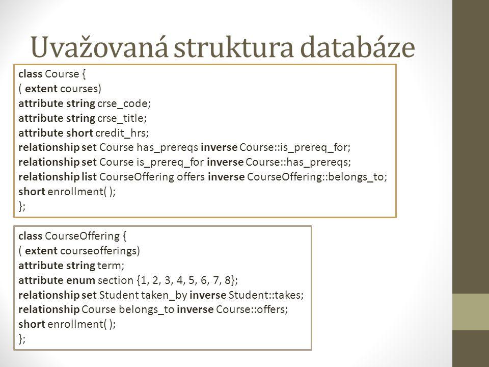 Uvažovaná struktura databáze