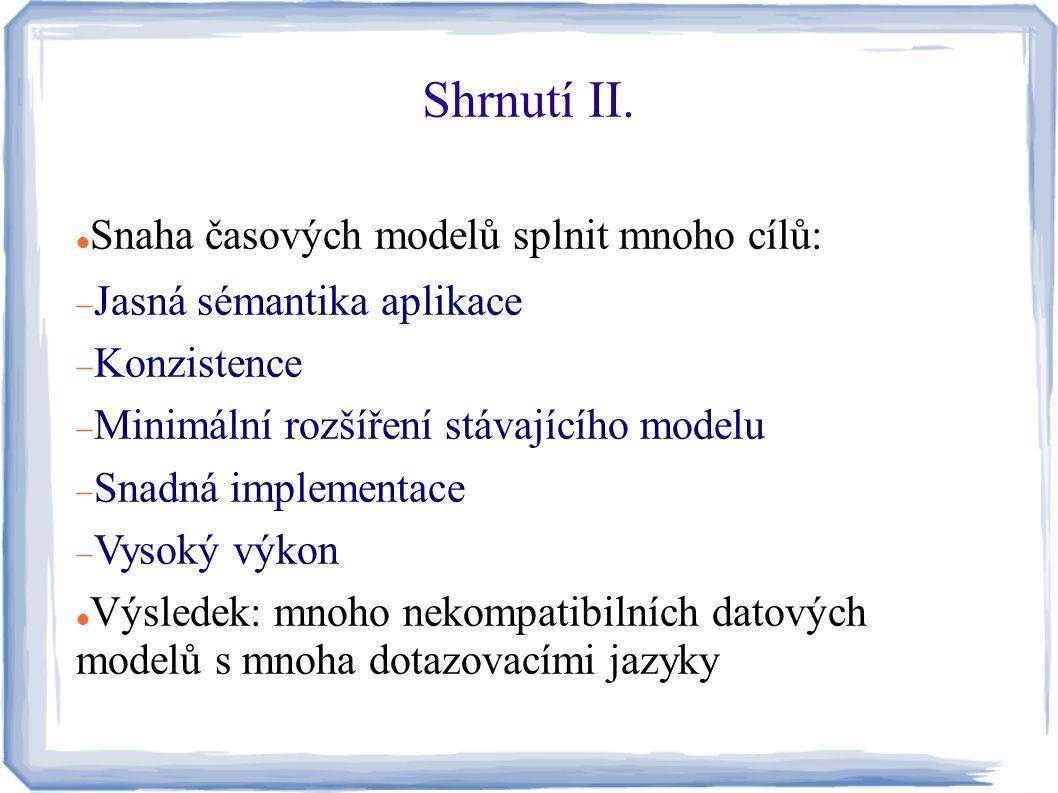 Shrnutí II. Snaha časových modelů splnit mnoho cílů: