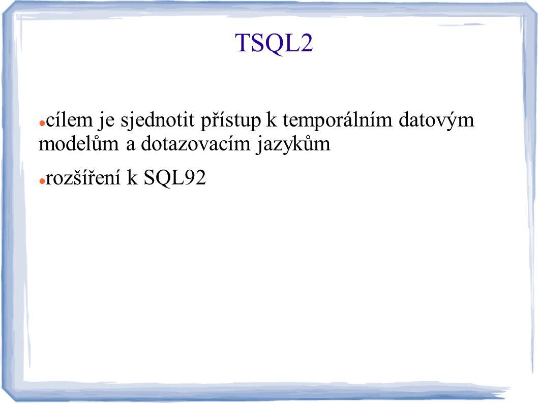 TSQL2 cílem je sjednotit přístup k temporálním datovým modelům a dotazovacím jazykům.