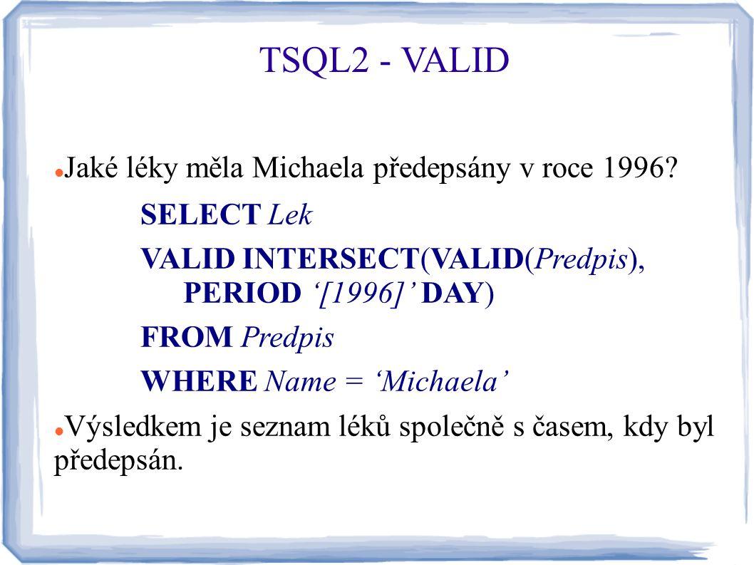 TSQL2 - VALID Jaké léky měla Michaela předepsány v roce 1996