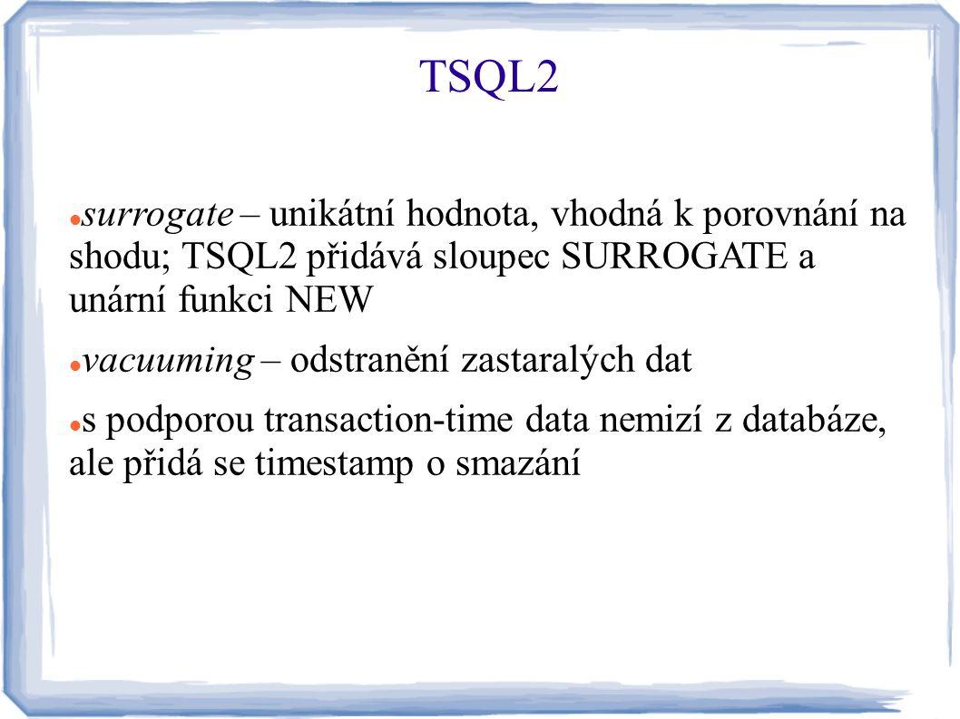 TSQL2 surrogate – unikátní hodnota, vhodná k porovnání na shodu; TSQL2 přidává sloupec SURROGATE a unární funkci NEW.