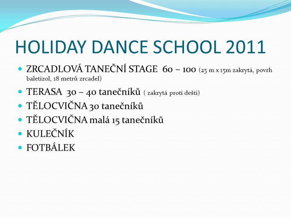 HOLIDAY DANCE SCHOOL 2011 ZRCADLOVÁ TANEČNÍ STAGE 60 – 100 (25 m x 15m zakrytá, povrh baletizol, 18 metrů zrcadel)
