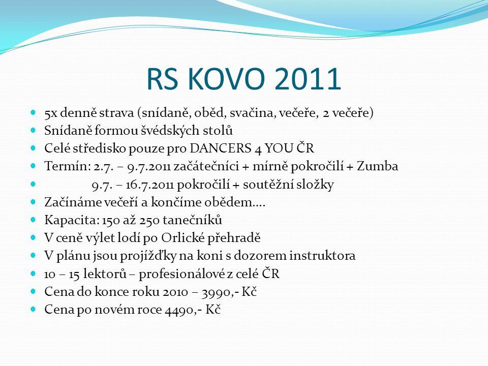 RS KOVO 2011 5x denně strava (snídaně, oběd, svačina, večeře, 2 večeře) Snídaně formou švédských stolů.