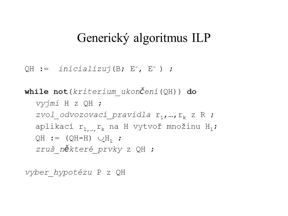 Generický algoritmus ILP
