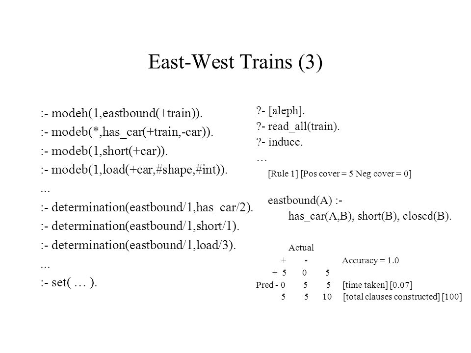 East-West Trains (3) :- modeh(1,eastbound(+train)).