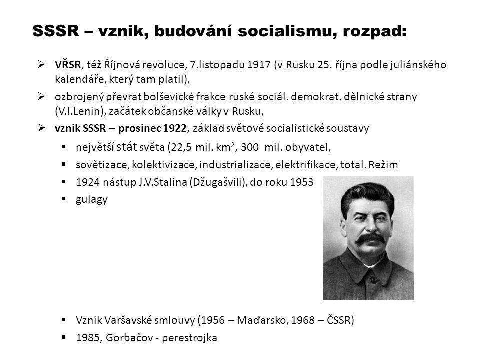 SSSR – vznik, budování socialismu, rozpad:
