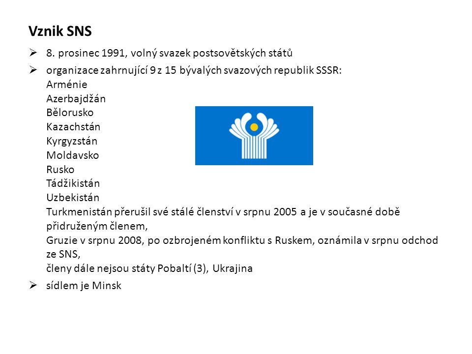 Vznik SNS 8. prosinec 1991, volný svazek postsovětských států