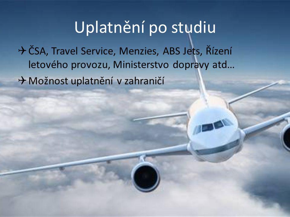 Uplatnění po studiu ČSA, Travel Service, Menzies, ABS Jets, Řízení letového provozu, Ministerstvo dopravy atd…
