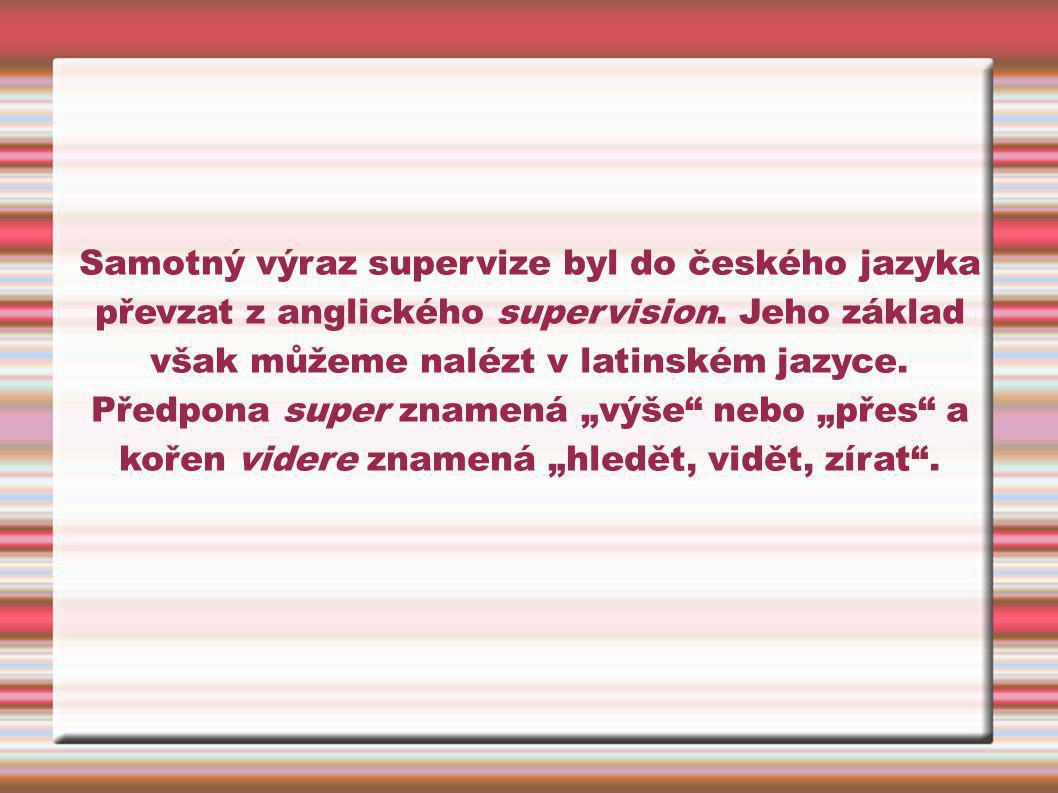 Samotný výraz supervize byl do českého jazyka převzat z anglického supervision.