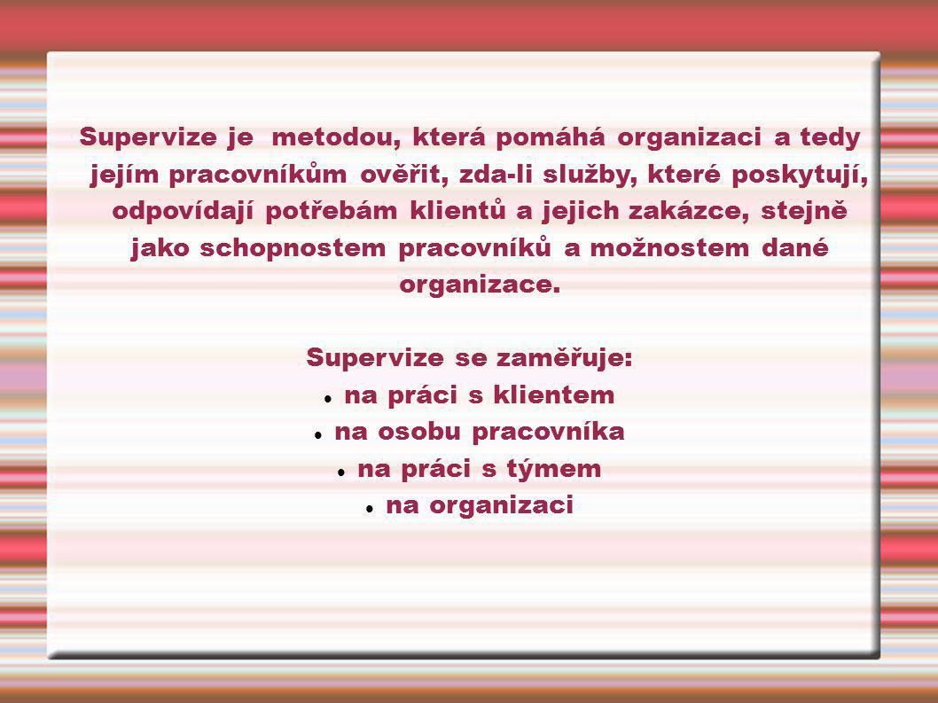 Supervize se zaměřuje: