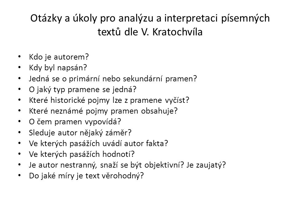 Otázky a úkoly pro analýzu a interpretaci písemných textů dle V