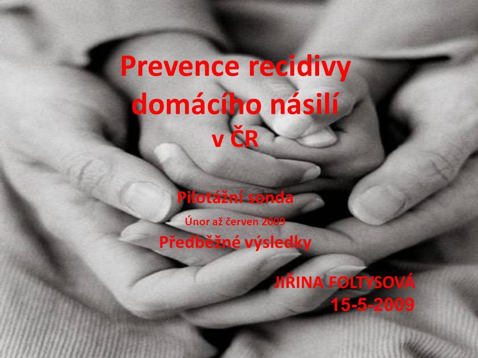 Prevence recidivy domácího násilí v ČR Pilotážní sonda Únor až červen 2009 Předběžné výsledky