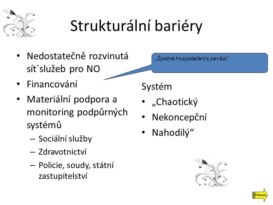 Strukturální bariéry Nedostatečně rozvinutá sít´služeb pro NO