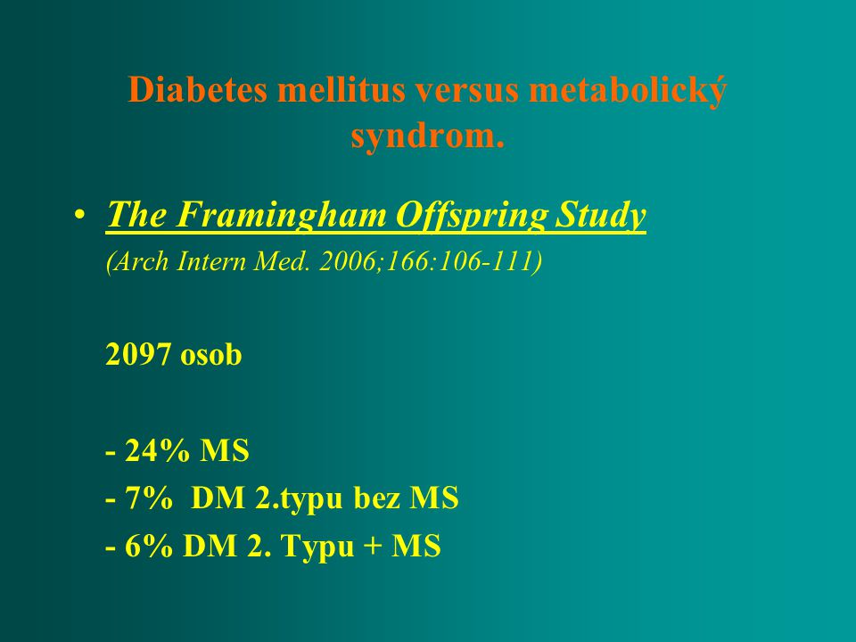 Diabetes mellitus versus metabolický syndrom.