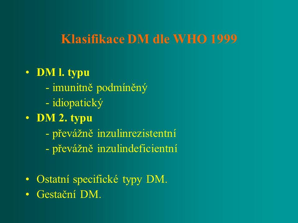 Klasifikace DM dle WHO 1999 DM l. typu - imunitně podmíněný