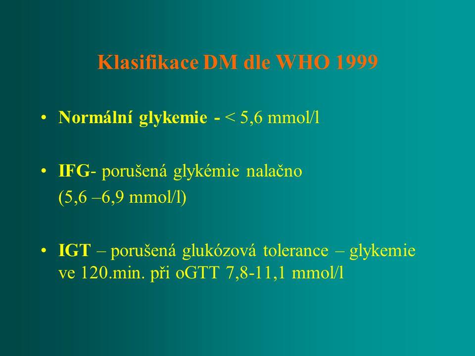 Klasifikace DM dle WHO 1999 Normální glykemie - < 5,6 mmol/l