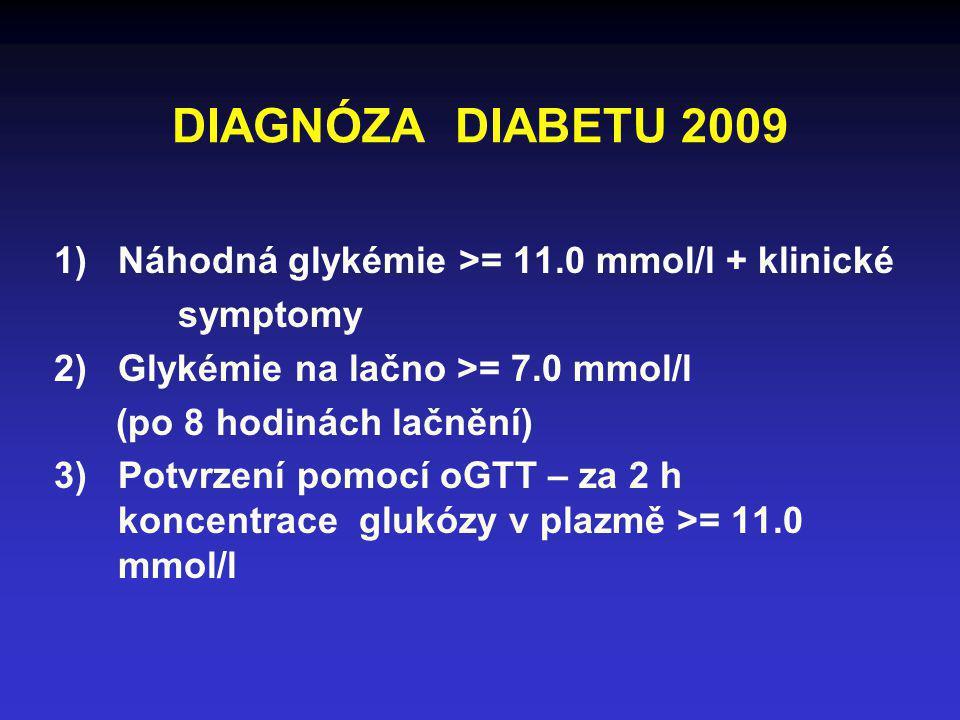 DIAGNÓZA DIABETU 2009 Náhodná glykémie >= 11.0 mmol/l + klinické