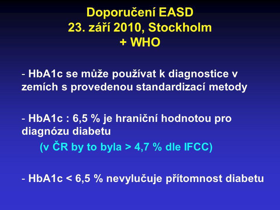 Doporučení EASD 23. září 2010, Stockholm + WHO