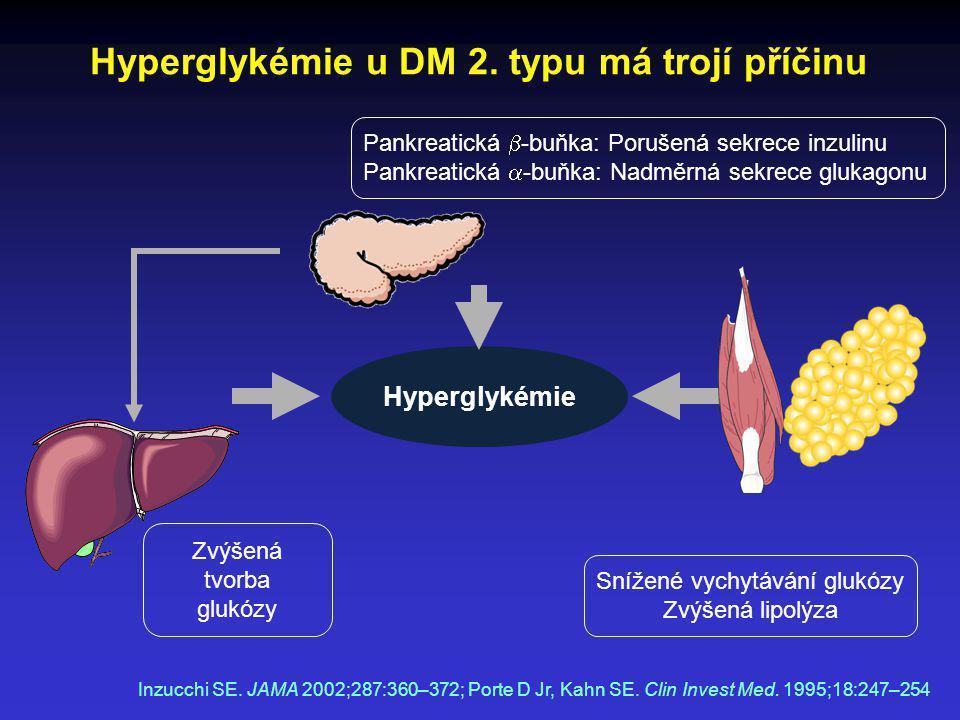Hyperglykémie u DM 2. typu má trojí příčinu