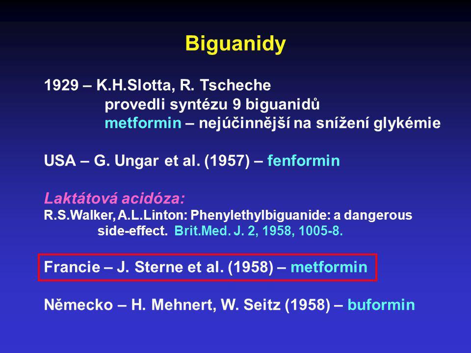 Biguanidy 1929 – K.H.Slotta, R. Tscheche provedli syntézu 9 biguanidů