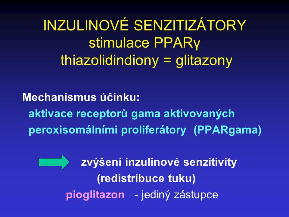 INZULINOVÉ SENZITIZÁTORY stimulace PPARγ thiazolidindiony = glitazony