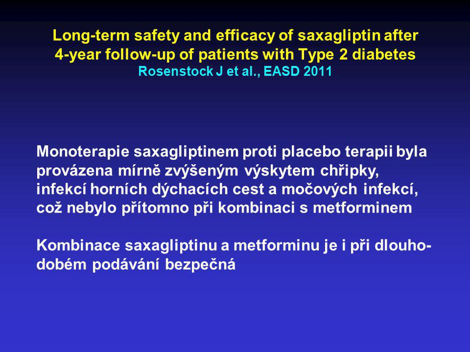 Long-term safety and efficacy of saxagliptin after 4-year follow-up of patients with Type 2 diabetes Rosenstock J et al., EASD 2011