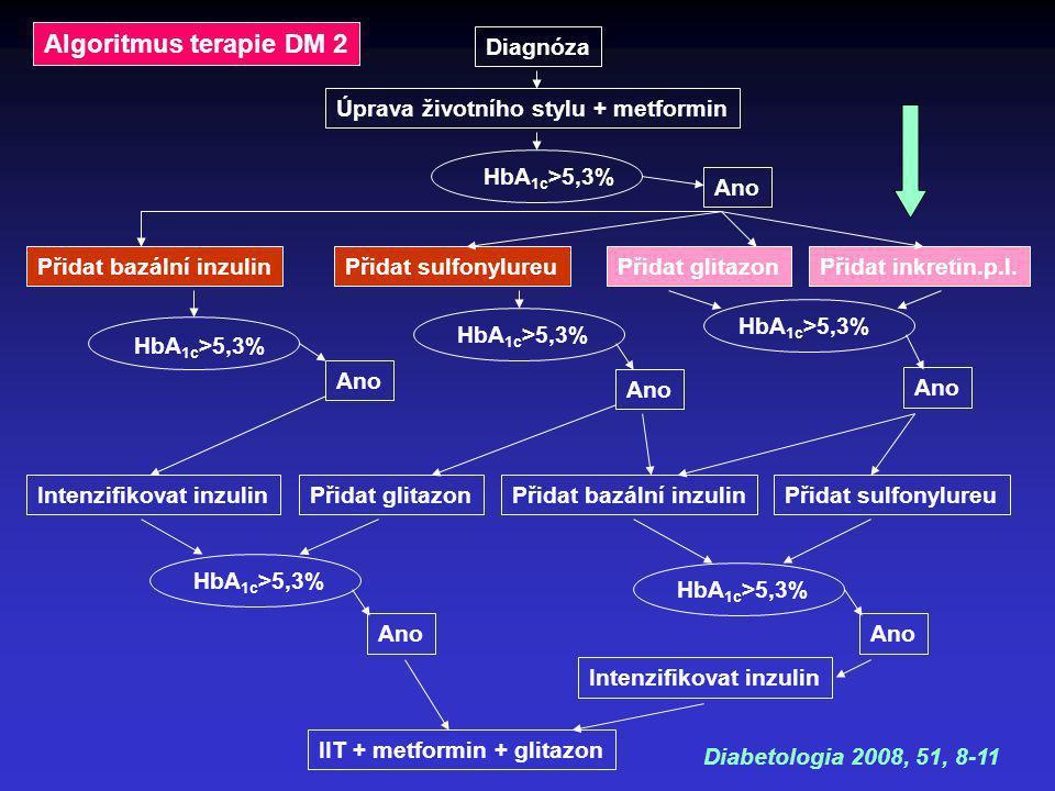 Algoritmus terapie DM 2 Diagnóza Úprava životního stylu + metformin