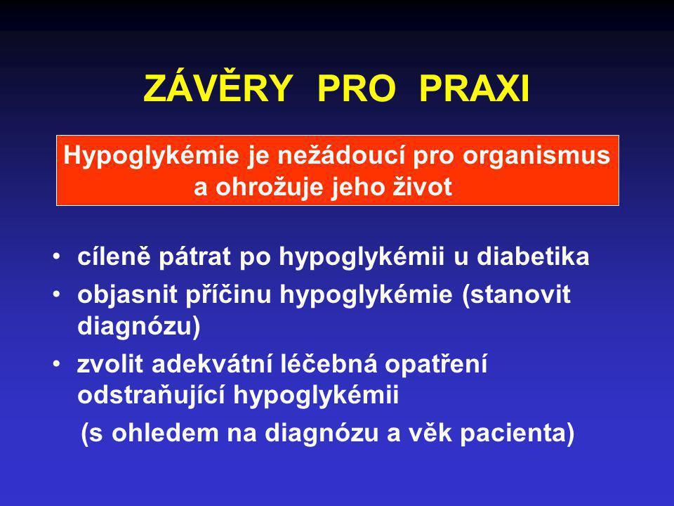 ZÁVĚRY PRO PRAXI Hypoglykémie je nežádoucí pro organismus