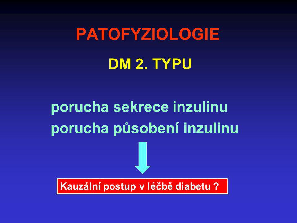 DM 2. TYPU porucha sekrece inzulinu porucha působení inzulinu