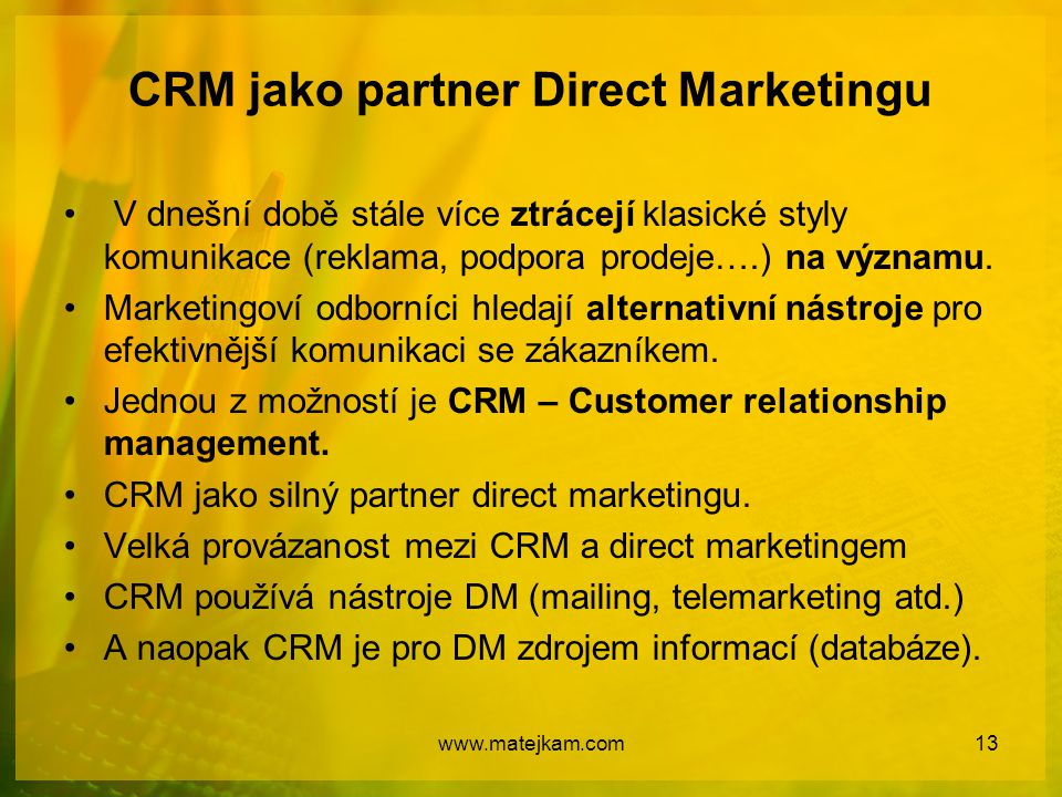 CRM jako partner Direct Marketingu