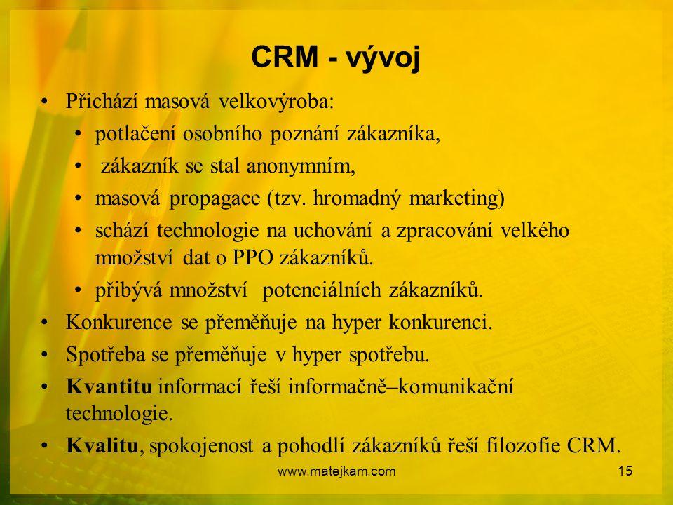 CRM - vývoj Přichází masová velkovýroba: