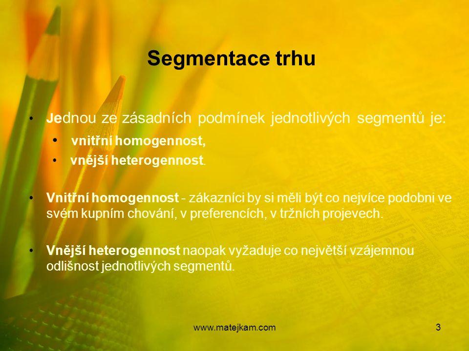 Segmentace trhu vnitřní homogennost,
