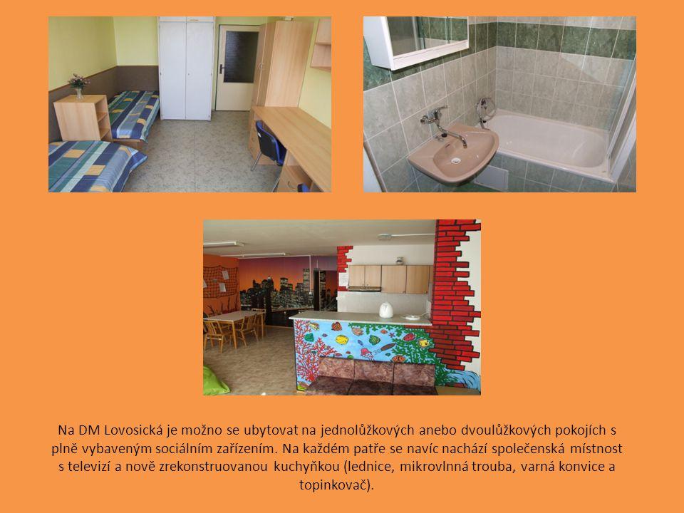 Na DM Lovosická je možno se ubytovat na jednolůžkových anebo dvoulůžkových pokojích s plně vybaveným sociálním zařízením.
