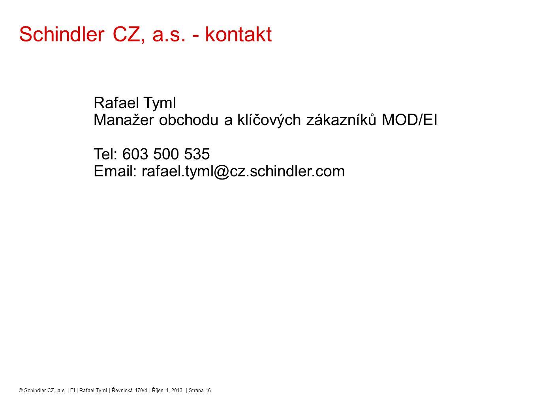 Schindler CZ, a.s. - kontakt