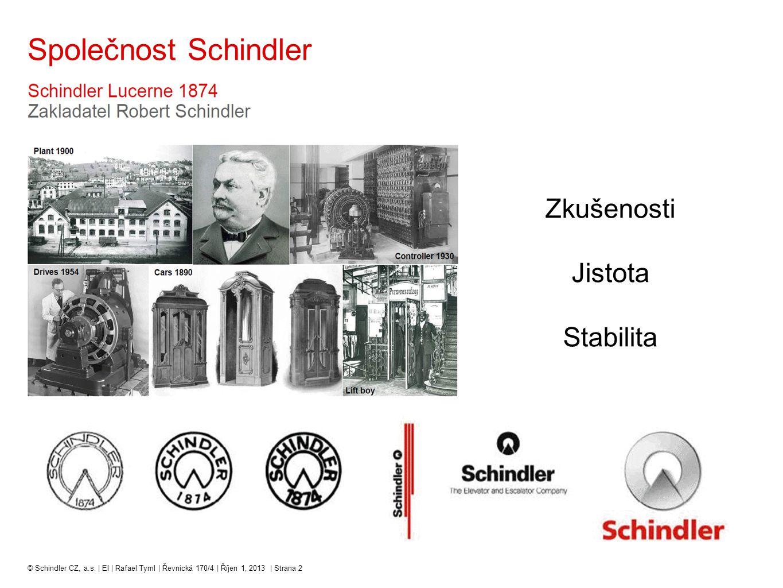 Společnost Schindler Zkušenosti Jistota Stabilita