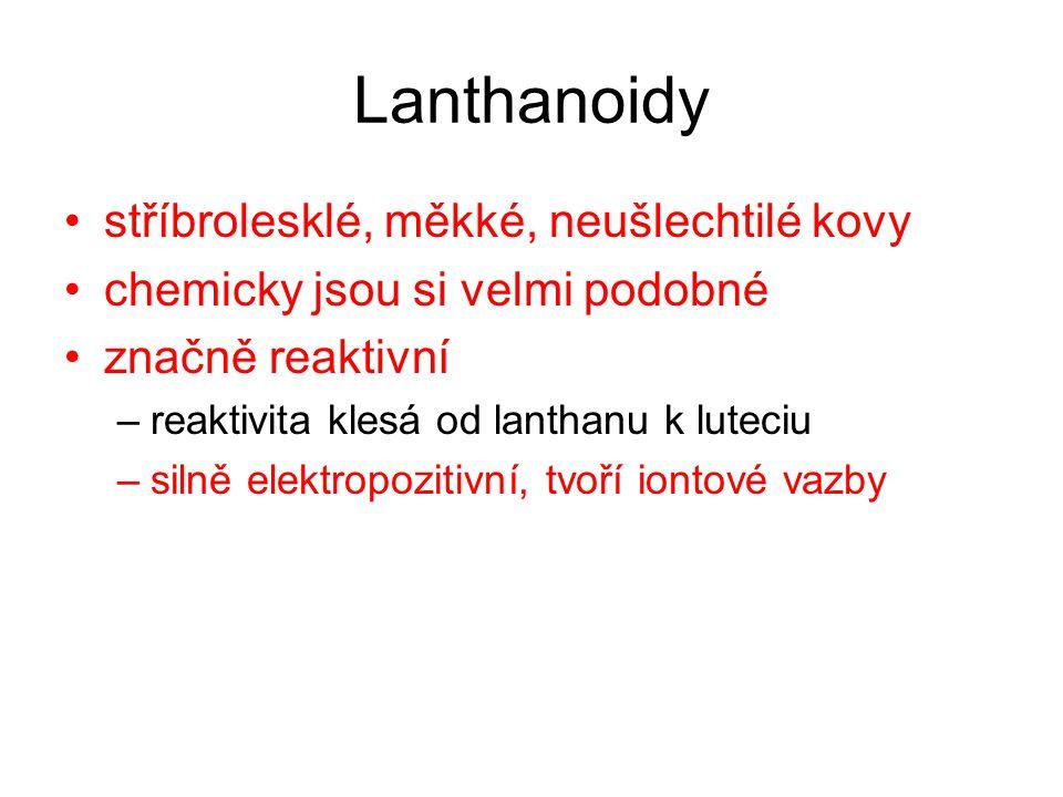 Lanthanoidy stříbrolesklé, měkké, neušlechtilé kovy