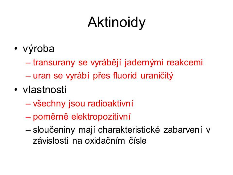 Aktinoidy výroba vlastnosti transurany se vyrábějí jadernými reakcemi