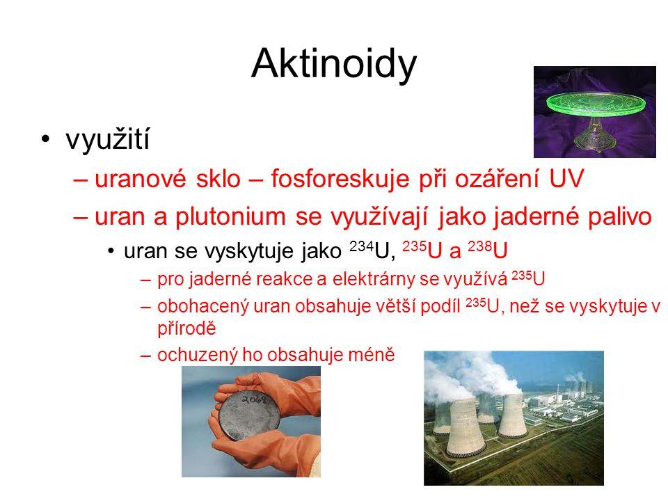 Aktinoidy využití uranové sklo – fosforeskuje při ozáření UV