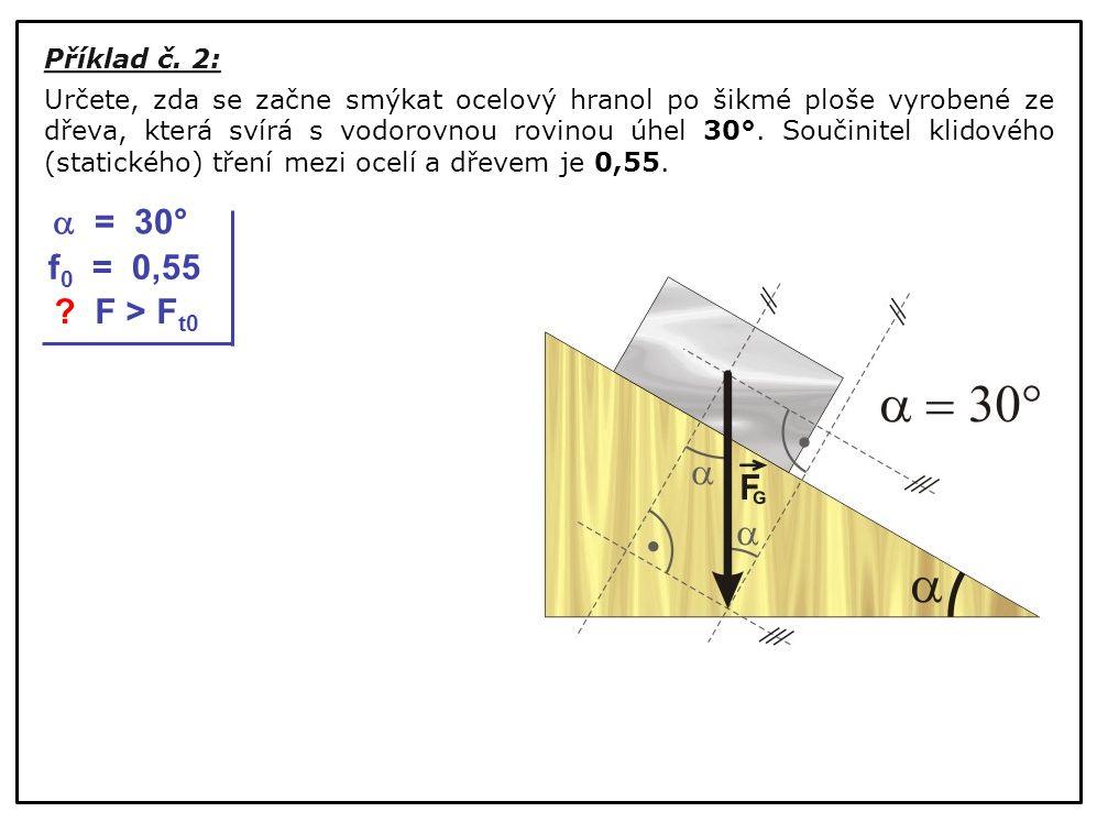  = 30° f0 = 0,55 F > Ft0 Příklad č. 2: