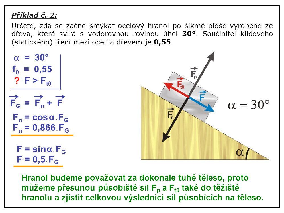  = 30° f0 = 0,55 F > Ft0 FG = Fn + F Fn = cos α . FG