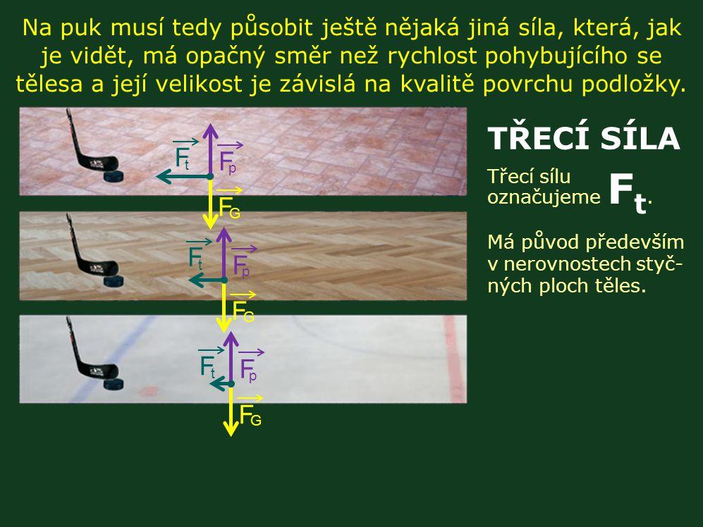 Na puk musí tedy působit ještě nějaká jiná síla, která, jak je vidět, má opačný směr než rychlost pohybujícího se tělesa a její velikost je závislá na kvalitě povrchu podložky.