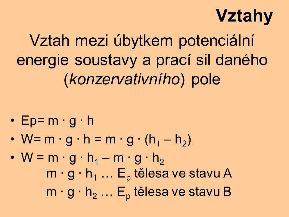 Vztahy Vztah mezi úbytkem potenciální energie soustavy a prací sil daného (konzervativního) pole. Ep= m · g · h.