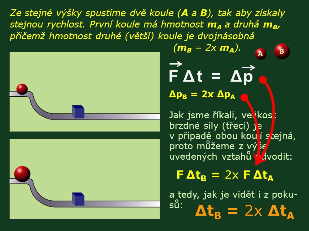 F Δ t = Δ p ΔtB = 2x ΔtA F ΔtB = 2x F ΔtA