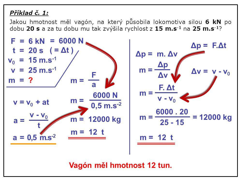 F = 6 kN = 6000 N Δp = F.Δt t = 20 s ( = Δt ) Δp = m. Δv v0 = 15 m.s-1