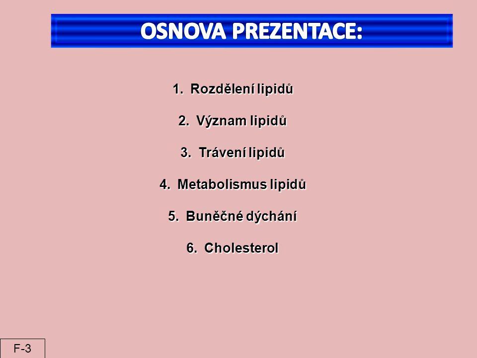 OSNOVA PREZENTACE: Rozdělení lipidů Význam lipidů Trávení lipidů