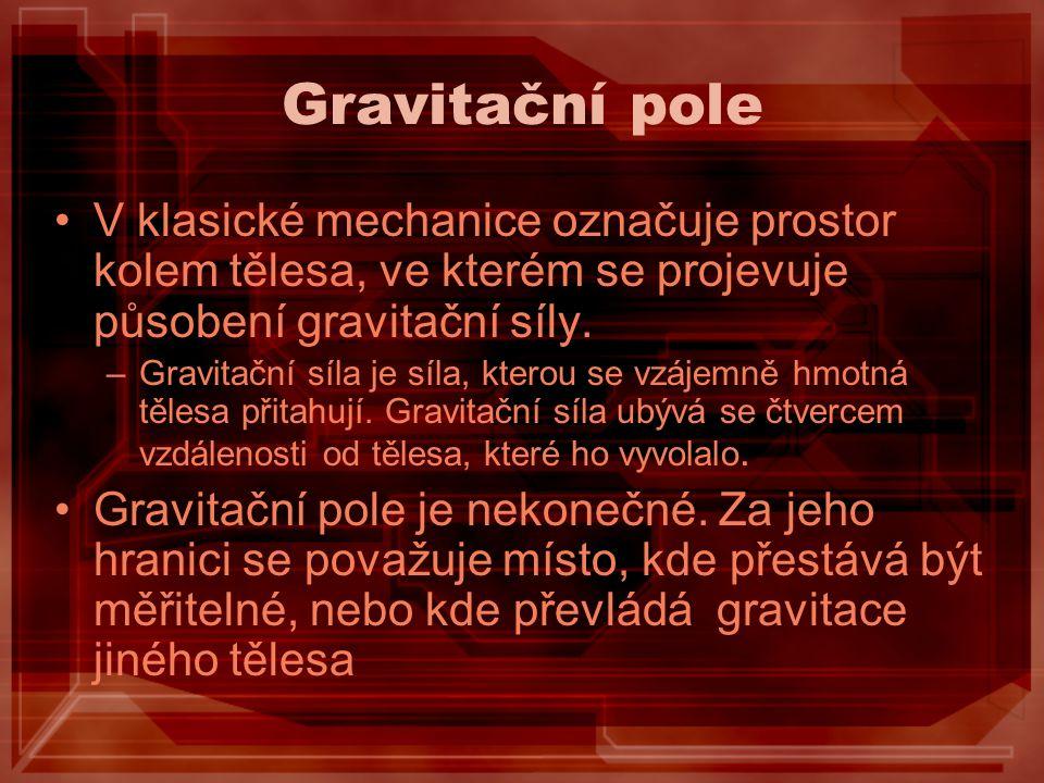 Gravitační pole V klasické mechanice označuje prostor kolem tělesa, ve kterém se projevuje působení gravitační síly.