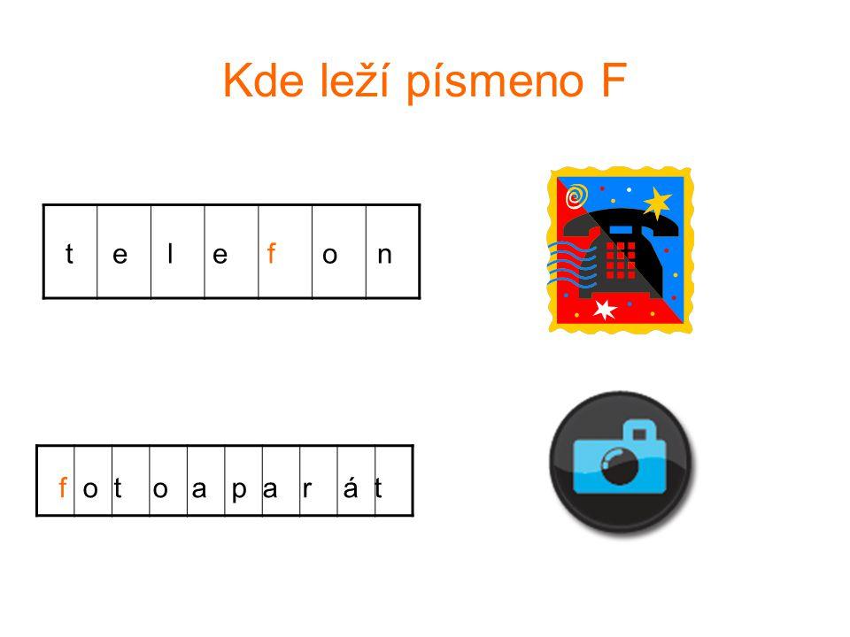 Kde leží písmeno F t e l e f o n f o t o a p a r á t