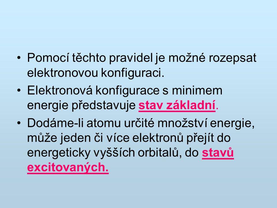 Pomocí těchto pravidel je možné rozepsat elektronovou konfiguraci.